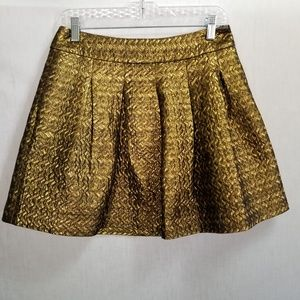 Banana Republic A-Line Skirt Gold Quillted Size 4